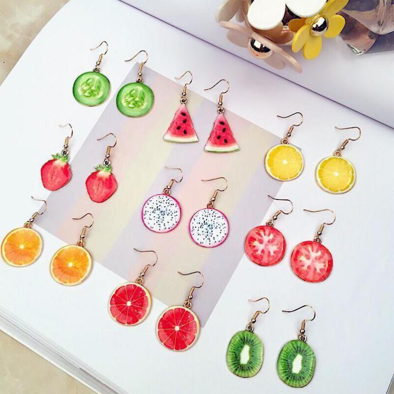 Korean Temperament Lovely Earrings Fruit Watermelon Strawberry Kiwi Long Earrings Wholesale Earrings For Women