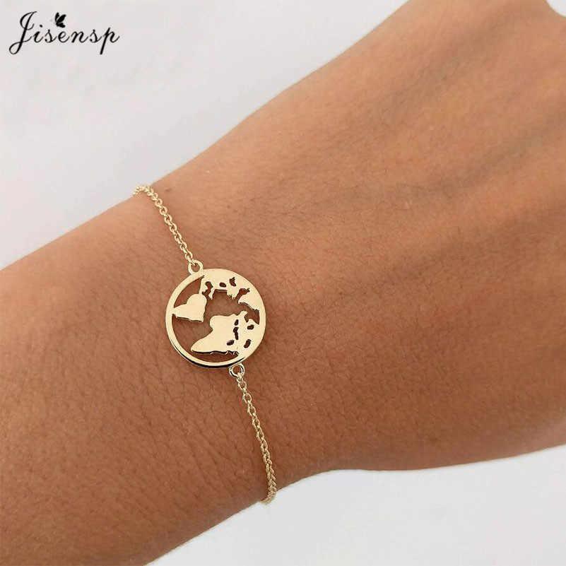 Jisensp acier inoxydable Mickey bracelets pour Femme bijoux de tous les jours carte du monde Bracelet à breloques coeur Bracelet Femme cadeau de mariage
