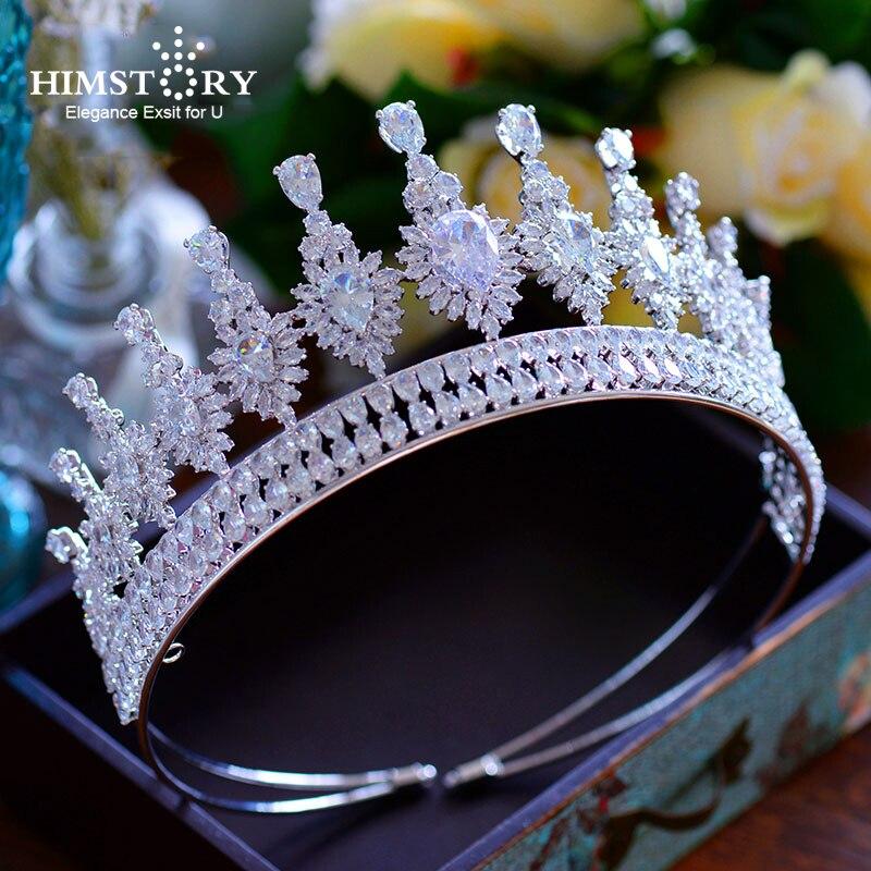 Luxueux Royal Reine Pleine Cubique Zircon Diadèmes Couronnes De Princesse Oversize Mariées Bandeaux Pleine CZ De Mariage Cheveux Accessoires