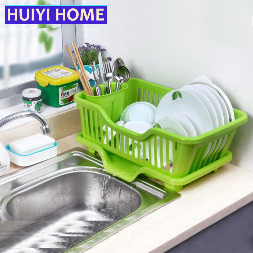 huiyi home washing holder basket pp great kitchen sink dish drainer drying rack organizer blue pink white tray egn005a - Double Drainer Kitchen Sink