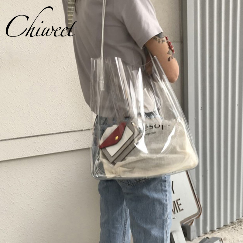 Chic Transparent Waterproof Island Beach Bags Women Summer 2019 Big Handbags Clear Large Shoulder Bag Brand Girls Jelly Bag Tote