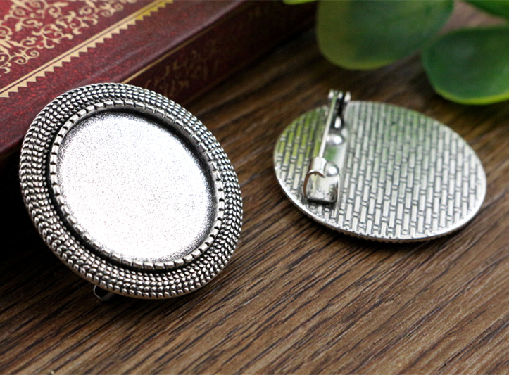 2pcs 20mm Inner Size Antique Silver Brooch Pin Classic Style Cabochon Base Setting (D1-25) anime style feather pattern zinc alloy brooch pin blue white silver