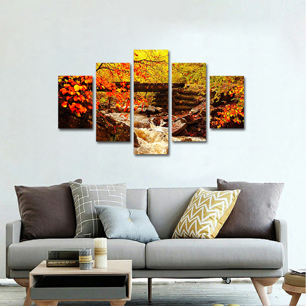 Unframed Canvas Painting Autumn Red Leaves Bridge Creek Landscape Photo Prints Wall Pictures For Living Room Wall Art Decoration