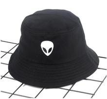 cdca1d3a97d 2018 black white solid Alien Bucket Hat Unisex Bob Caps Hip Hop Gorros Men  women Summer