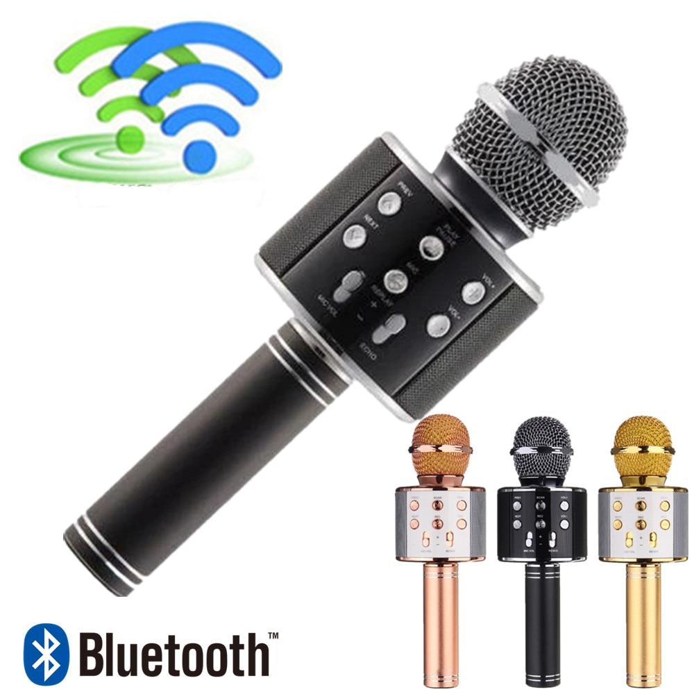 Mikrofon WS858 Bluetooth Handheld Wireless Karaoke Mikrofon Telefon Player MIC Lautsprecher Rekord Musik KTV Microfone für iPhone PC