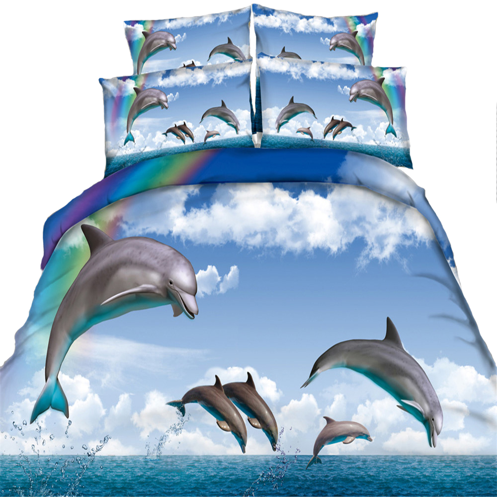 100 cotton marine life series bedding sets 3 4pcs printed dolphin