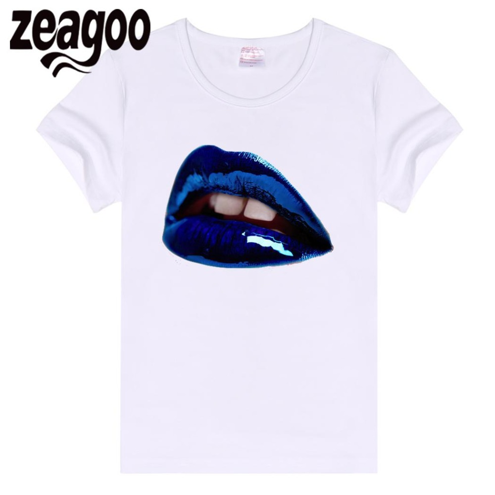 zeagoo Violent Casual Basic Plain Crew Neck Slim Fit Soft Short Sleeve T-Shirt White Home Women Lips printed T-shirt Female