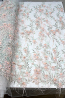 High Quality Imported Wholesale 100%Polyester African Grey Tulle Lace French Net Beads Lace Fabric For Wedding