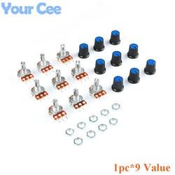 9 PCS (1 pc * 9 Wert) linear Potentiometer 15mm Welle Mit Muttern Und Potentiometer Taste Cap für 1 K 2 K 5 K 10 K 20 K 50 K 100 K 500 K 1 M