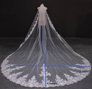 Image 5 - 실제 사진 4 미터 긴 전체 가장자리 레이스 웨딩 베일 한 레이어 화이트 아이보리 Tulle 신부 베일 빗 Veu de Noiva Longo