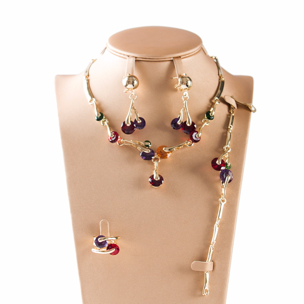 LAN PALACE indian bridal jewelry ladies multi color zircon gold color four pieces earrings necklace ring bracelet free shipping