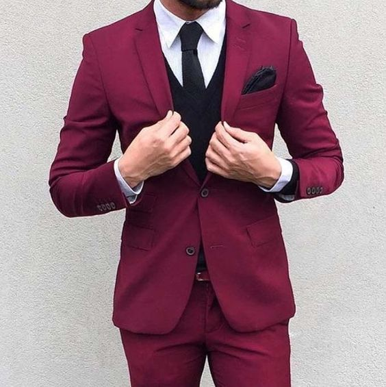 2017 Latest Coat Pant Designs Red Wedding Suits Slim Fit 3 Pieces Tuxedo Fashion Party Prom