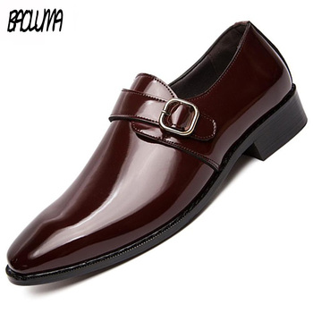 Brand Men's Dress Shoes Formal Pointed Toe Fashion Shoes High Quality Leather Business Men Hasp Flats Moccasins Oxfords Big Size