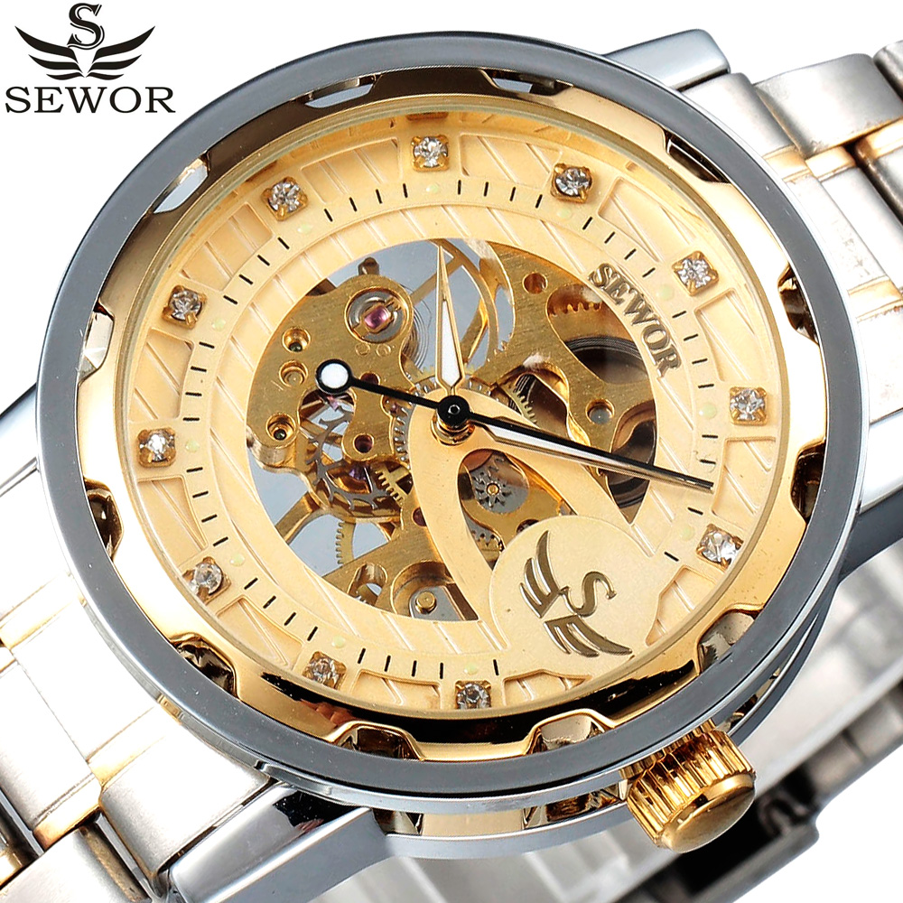 2017 SEWOR Top Luxury Brand Brand Gold Skeleton Watch Mens Stainless Steel Male Clock Wrist Watches for Men Relogio Masculino 10570 конструктор lego duplo лучшие друзья кот и пёс 30 элементов 10570