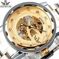 Sewor marca relógio Masculino de ouro esqueleto mecânico de aço inoxidável Masculino pulseira de relógio de strass relógio de vento mão relógio masculinos