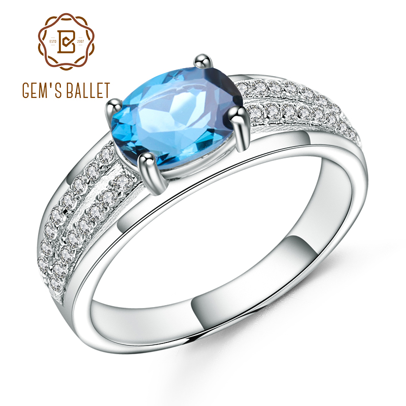GEM'S BALLET 925 Sterling Silver Engagement Ring 1.57Ct Oval Natural London Blue Topaz Gemstone Rings for Women Fine Jewelry