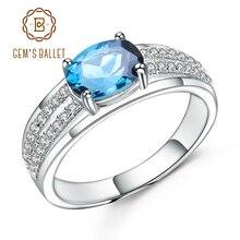 Gems BALLET 925 스털링 실버 약혼 반지 1.57Ct 타원형 자연 런던 블루 토파즈 보석 반지 여성을위한 파인 쥬얼리