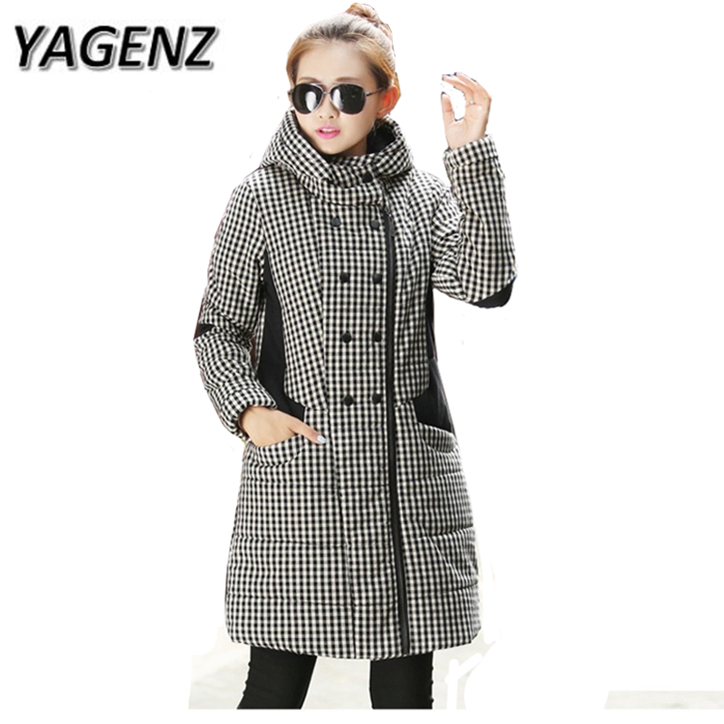 YAGENZ Large-size Winter Jacket Korea Slim Women Plaid Hooded Coat Casual   Parkas   Long-sleeved Thick Warm Cotton Overcoats 4XL