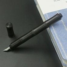 1Pc Black Wooden Bamboo Style Fountain Pen, Converter Pen F Nib Screw Cap