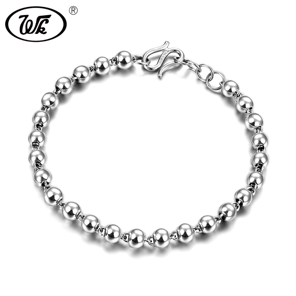 WK 925 Sterling Silver 4MM Beads Ball Bracelet Women Charm Bracelets For Girls Bead Hand Chain Jewelry Wholesale 2018 OW BM004 5pcs 2 4mm silver plated ball beads chain necklace bead connector 65cm 25 5 inch z1 06