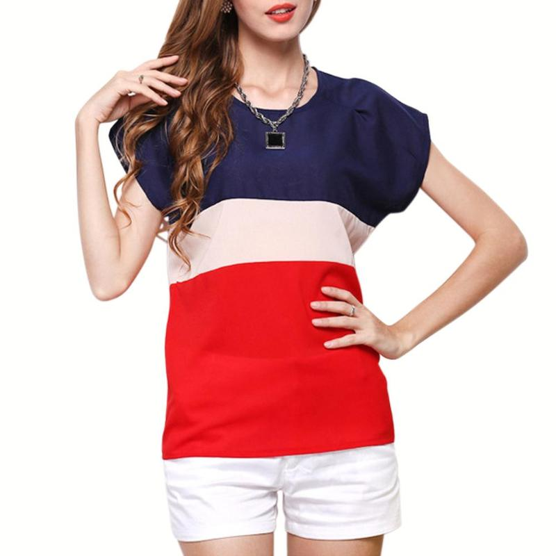 Women Basic T-shirt Chiffon Stitching O-neck Short Batwing Sleeve Casual Top Patchwork Colorful Summer Female Tees Fashion
