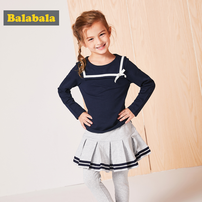 Balabala clothes set for girls tshirt + leggings 2pcs cute Outfits kids clothes baby girls cotton clothing costumes for kid new baby girls t shirt brand round neck kids clothes tshirt printed cute red rabbit pattern next clothing style for 18m 6t