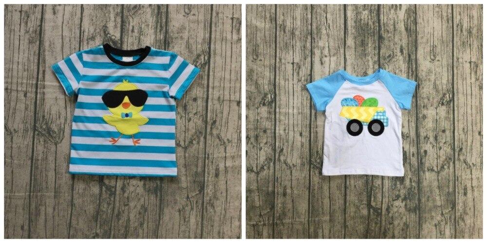 Nuevas llegadas de Pascua de bebé niño azul blanco camionero huevos de algodón boutique raglan topT-Camisa de manga corta, ropa de los niños desgaste de los niños