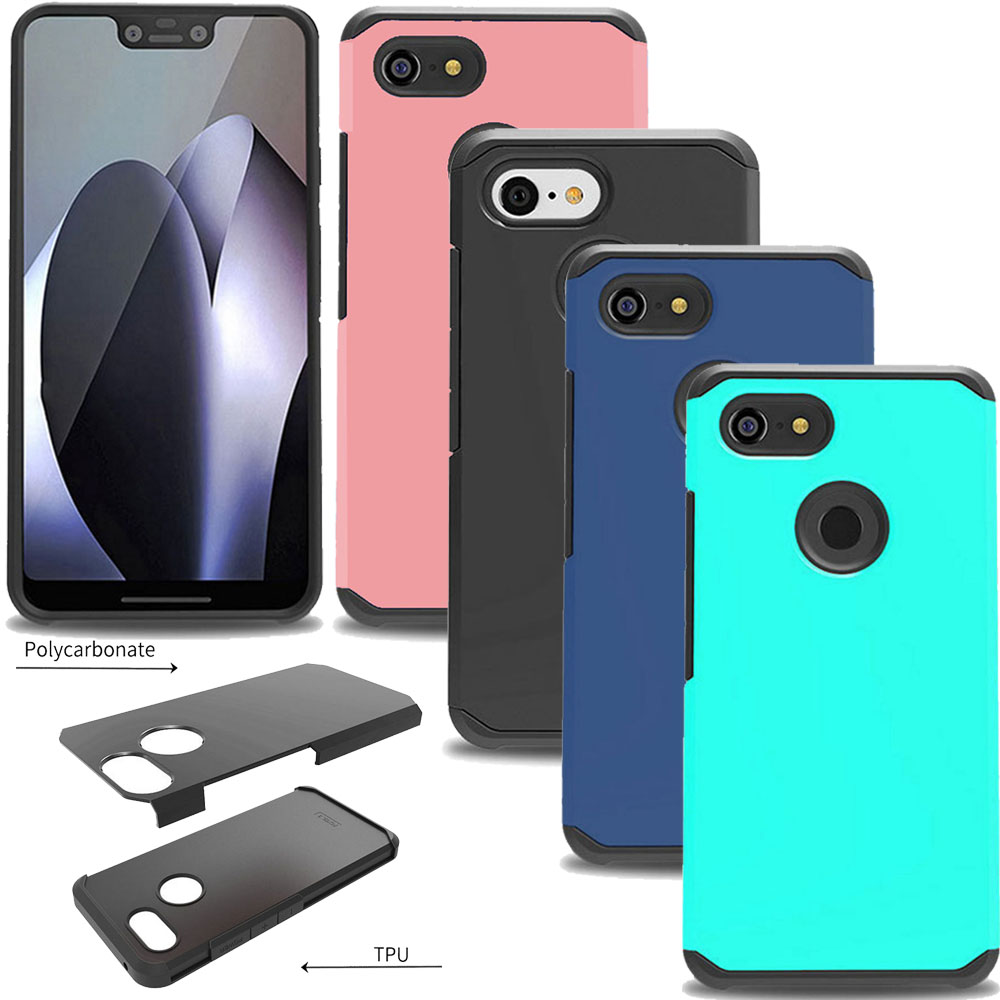 Dual Layer Slim Hybrid Armor Case Soft Rubber TPU Hard PC Back Shockproof Protective Cover For Google Pixel 3 / Pixel 3 XL XL3