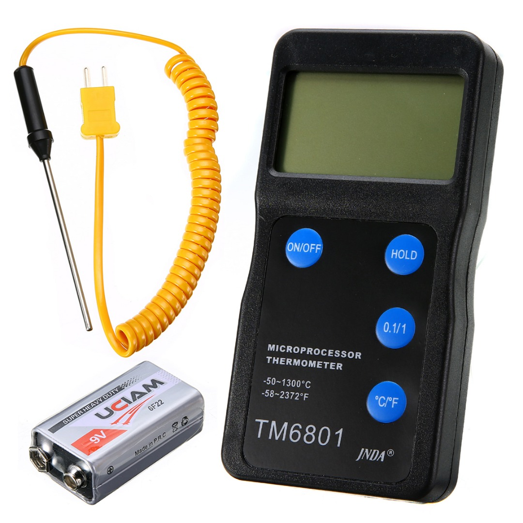 Temperature Thermometer Gauge w//Waterproof Probe LCD Tester Durable Universal