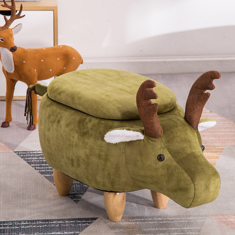 Nordic sofa stool creative Elk designer furniture solid wood legs style change shoes stool storage animal modeling stool