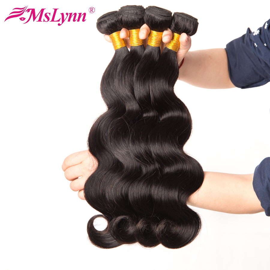 Mslynn Hair Malaysian Body Wave Bundles Human Hair Extensions 1 Piece 10″-28″ Natural Color Can Be Dyed Non Remy Hair Weave