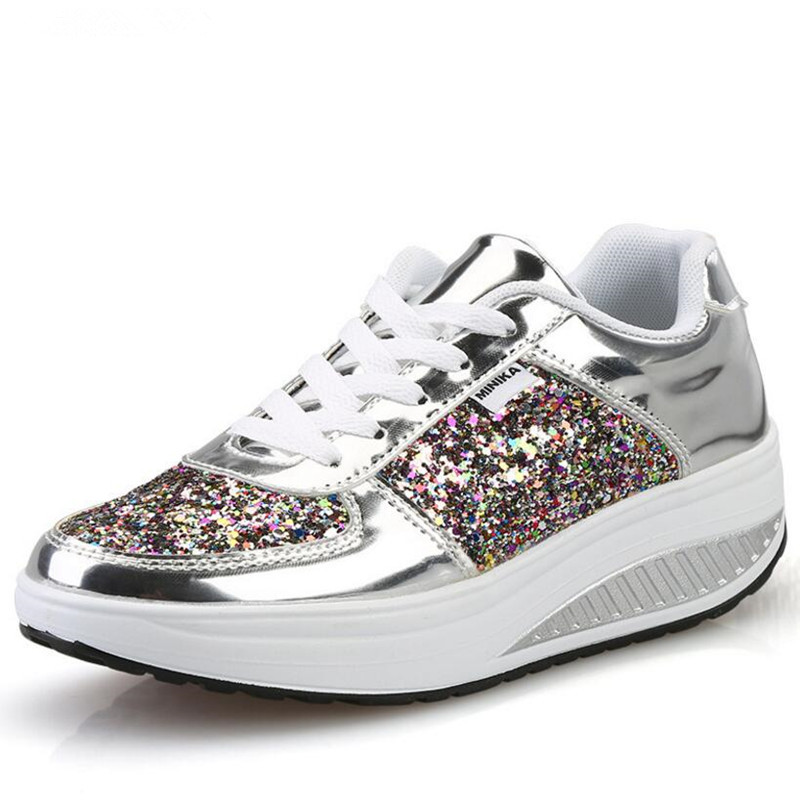 YeddaMavis Women Shoes Women Sneakers 2019 Spring Fashion Gold Lace Up Casual Shoes Sequins Womens Shoes Woman Zapatos De Mujer in Women 39 s Vulcanize Shoes from Shoes
