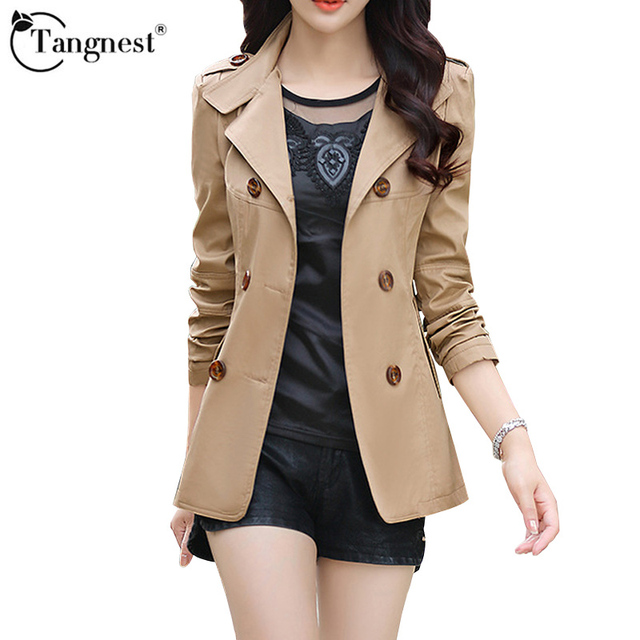 TANGNESTWomen Spring Autumn Jacket Fashion Double-breasted Slim Five Solid Colors Plus Size Young Ladies Slim Jacket WWF845