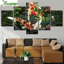 YOGOTOP DIY Diamond Painting Full Embroidery 5D Square/Round Drill Mosaic Wall Decor custom fish Koi and Lotus Flower 5pcs ML645