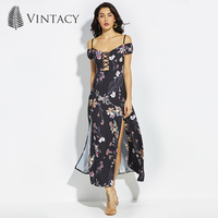 Vintacy Spaghetti Strap Dress Women Cold Shoulder Sexy Backless Floral Print Long Black Dresses Cross Criss High Slit Long Dress