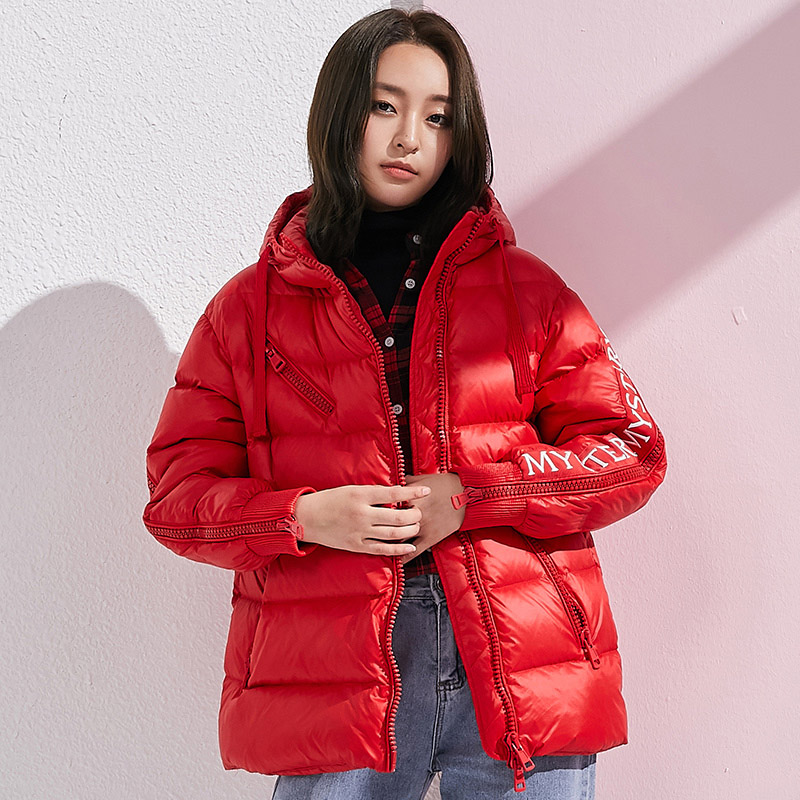 Loose fit hooded winter   down   jacket women fashion letter print casual   down     coat   outerwear new 2019 autumn collection