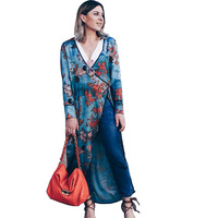 Women Long Sleeve Cardigan Regular Sleeve Sashes Open Stitch Floral Printed Kimono Cover Up Casual Blouse