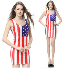 2018 Summer Women Dress For Women Usa Girl Lady Dress American Flag Dresses Clothes Clothing noble strapless american flag pattern long dress for women