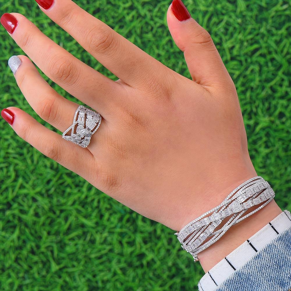 GODKI NIEUWE Luxe 3 pcs EARRING Armband Ring Sets Voor Vrouwen Wedding Cubic Zirkoonkristal Engagement DUBAI Bruids Sieraden Sets 2019-in Bruids Sieraden sets van Sieraden & accessoires op  Groep 3