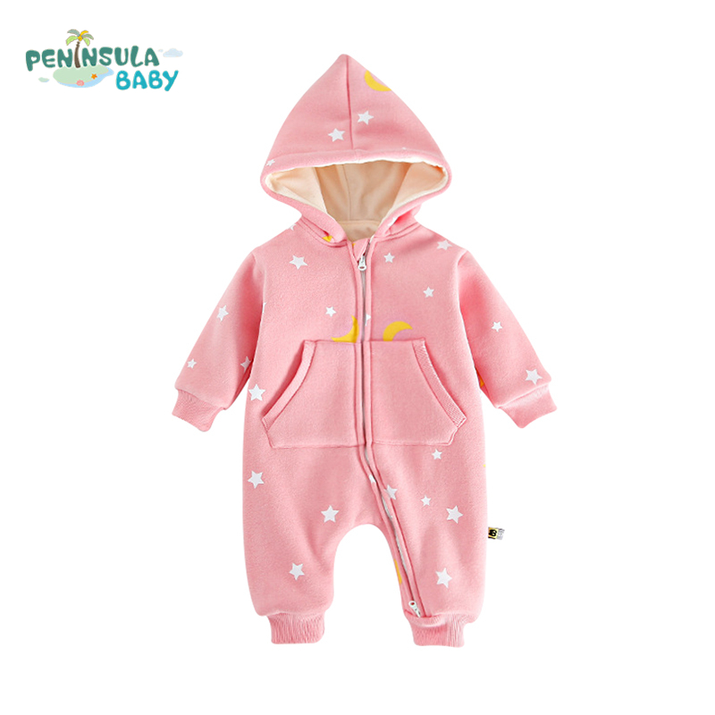 Newborn Baby Clothing Star Printed Winter Warm Thicker Baby Girls Boys Outerwear Kids Rompers Long Sleeve Cotton Infant Jumpsuit christmas newborn cashmere baby rompers infant clothing winter warm thicken cotton baby jumpsuit long sleeve boys girls sweater
