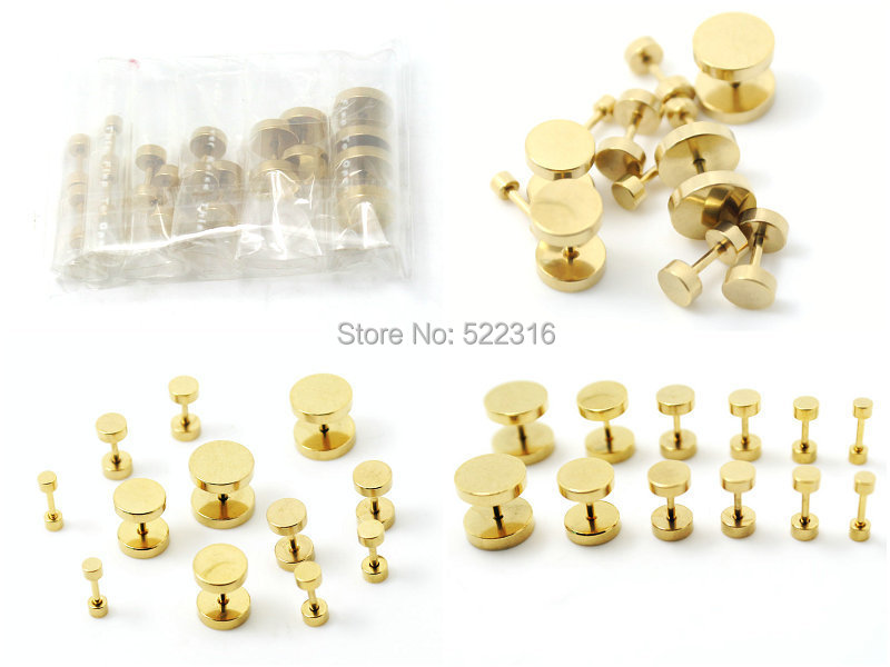 16pcs Anodized Gold Stainless Steel Fake Cheater Ear Plugs Gauge Body Jewelry Piercing mix 8 sizes earring