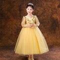 Niñas Vestido Del Desfile de la Fiesta de Cumpleaños de La Boda de lujo Diseño Hueco-Hacia fuera de Manga Larga Con Cuello En V Apliques Balón vestido de Niña de las Flores vestido