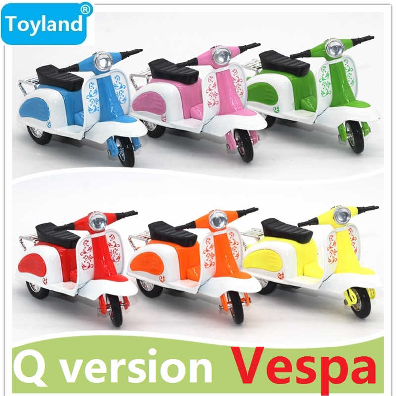 6-Colours The Q version Ladys Vespa Model Alloy Pull Back,BEST Gift for Educational Children Toys,Mini Motorcycle Model Cars toy