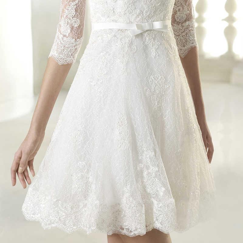 Новое кружевное свадебное платье, короткое сексуальное платье трапециевидной формы с v-образным вырезом и коротким рукавом, простое формальное платье для помолвки, Пляжное Платье, Vestido De Noiva