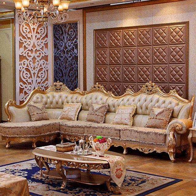 Luxury Leather Sofa Living Room Wood Carving And Gold Corner Furniture