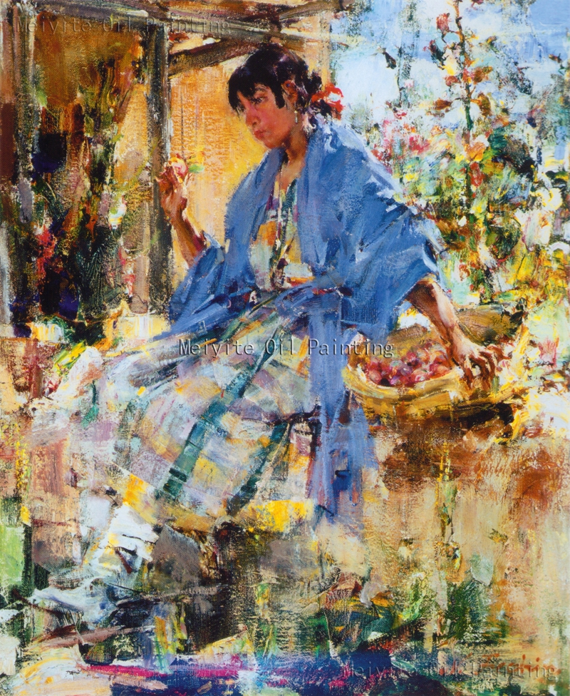 Picture oil hand made pretty girl on the swing oil for Oil paintings for the home