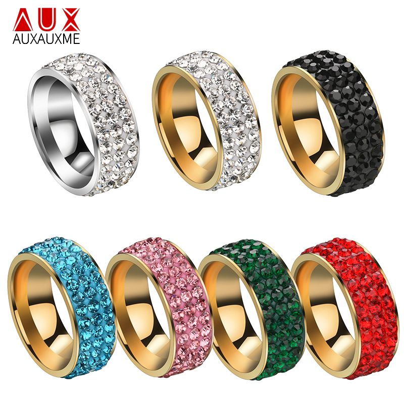 Mens Five Row Crystal Pave Silver Stainless Steel Ring