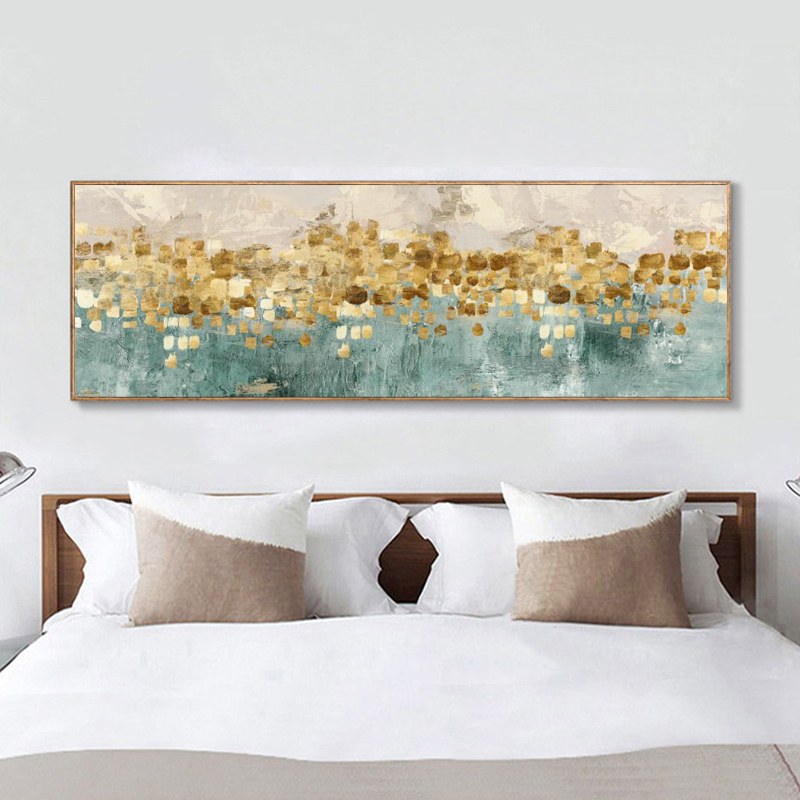 Modern Soyut Yağlıboya Posterler ve Baskılar Duvar Sanatı Altın Para Plaj Resimleri Oturma Odası Dekor için Hiçbir çerçeve