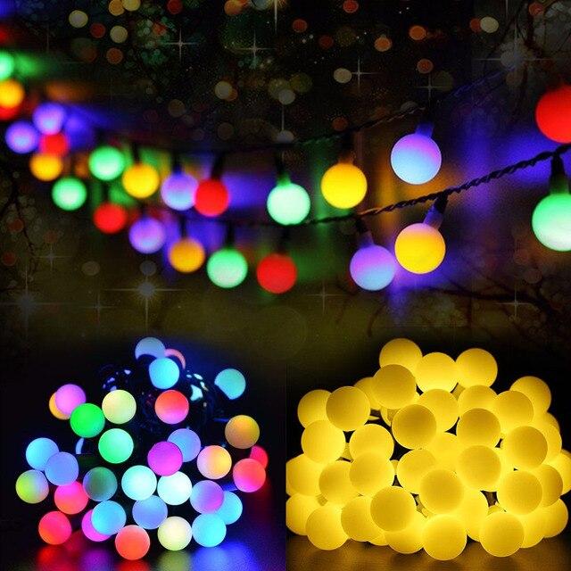Многоцветный 50 светодио дный LED s солнечный свет серии водостойкий наружный шар Фея струна праздник Рождественский сад свадебное украшение ...