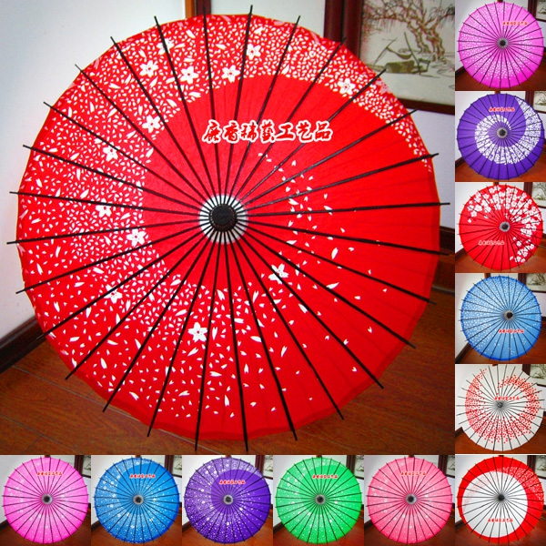 Japanese-style Cherry Blossoms Classical Anime Cos Oil Paper Umbrella Chinese New Year Restaurant Shop Decorative Paper Umbrella 翻轉 貓 砂 盆